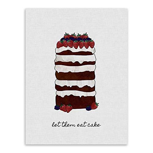 NBHHDH canvasdruk, moderne eenvoud aardbeien, chocolade, cake, dessert, servies, posters, prints in Scandinavische stijl, keuken, café, muurkunst, foto's, home decoratie, canvas, schilderijen 30×40cm