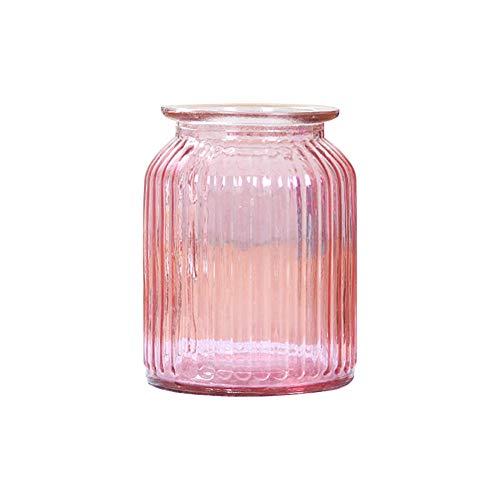 Skyeye 1PCS Vase Vertical rayé col Large en Verre Jacinthe d'Vase en Verre hydroponique Vase pour Home Garden Décoration Rose 14.5*11CM