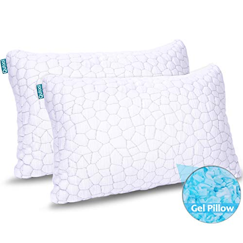 2-Pack Cooling Bed Pillows for Sleeping - Adjustable Gel Shredded Memory Foam Pillow - Hypoallergenic Bamboo Pillows for Side Back Sleepers + Washable Removable Cover Queen Size