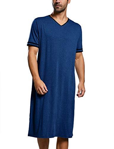 Nachthemd Herren Kurzarm Schlafanzug Lang Nachtwäsche Einteilig M-3XL Lose Sommer Pyjama Nachtshirt, A-Dunkel Blau, XL