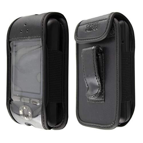 caseroxx Ledertasche mit Gürtelclip für Omnipod PDM aus Kunstleder, Handyhülle für Gürtel (mit Sichtfenster aus schmutzabweisender Klarsichtfolie in schwarz)
