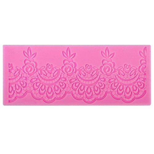 Moule en silicone pour décoration de gâteaux en forme de rose festonnée en dentelle 18 x 7 x 0,3 cm