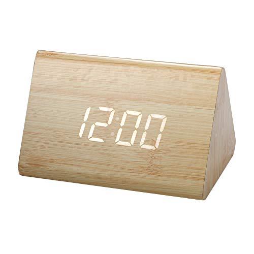 Lancardo Orologio Sveglia da Comodino Legno LED Temperatura Orario Tempo Data,Cavo USB Muto Silenzioso Giallo