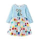 Likecrazy Herbst Kleid Mädchen Baumwolle Streifen Langarm Cartoon Prinzessin Kleid Kleinkind Kinder Baby Freizeitkleid T-Shirt Kleid Süßes Party Kids Kleider