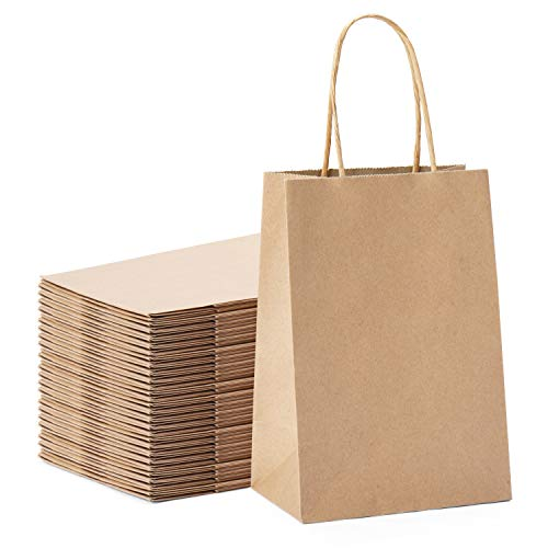 "Halulu Brown Kraft Paper Bags - Gift Party Bags with Handles - 25pc 5""x3.75""x8"" Shopping Bags"