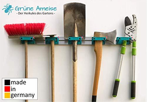 Grüne Ameise Abschließbarer Gerätehalter zur Aufbewahrung von Werkzeug, Besen, Gartengeräte und weiterem Zubehör für Garten & Haus inkl. Schrauben und Dübel (5 Halterungen pro Schiene)