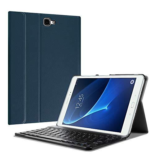 Fintie Tastatur Hülle für Samsung Galaxy Tab A 10,1 Zoll 2016 T580N/ T585N Tablet - Ultradünn leicht Schutzhülle mit magnetisch Abnehmbarer Drahtloser Deutscher Bluetooth Tastatur, Marineblau