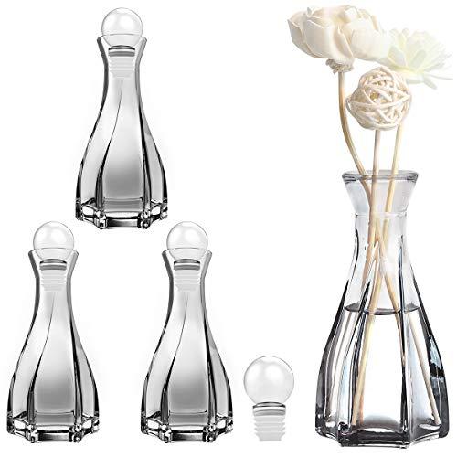 Luxspire Glas Diffusor Flasche, 4 Pack Duft Reed Diffusor Raumduft Flasche Konische Glasflasche Ersatz für Aromaflasche Duftöldiffusor für Schreibtisch Dekoration Heimgebrauch - Grau
