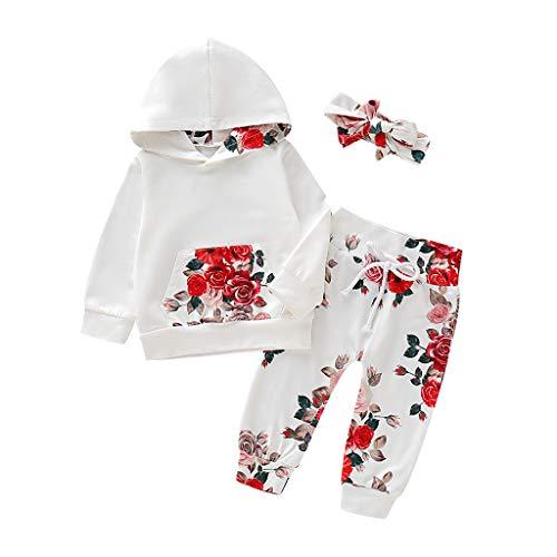 Hui.Hui Ensemble de Pantalons à Manches Longues à Capuchon Floral pour BébéS,Hiver Pas Cher Ensemble Cardigan Pull Pullover Vêtements Manteau Noël Cadeau pour Enfants