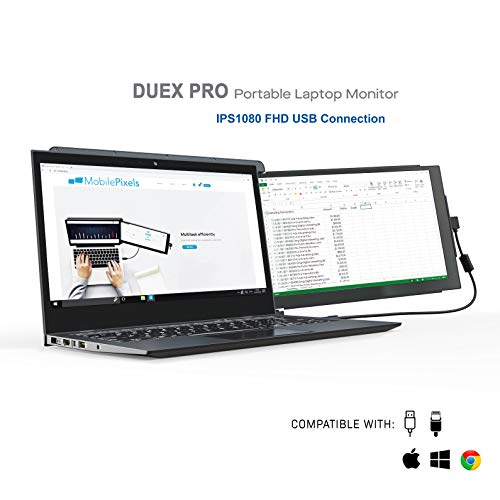"Mobile Pixels Duex Pro Portable Monitor for Laptops 12.5"" Full HD IPS USB A/Type-C USB The On-The-Go Dual-Screen Monitor, Plug and Play (Duex Pro Only)"