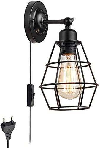 SMTAO Lámpara de Pared Interior Diseño de Jaula Retro con Interruptor Y Enchufe Vintage Industrial E27 Lámpara de Pared Ajustable de Metal Luces de Sala de Estar Negras Decorativas
