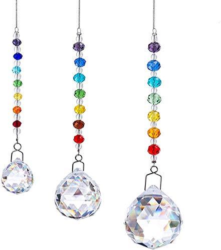 HDCRYSTALGIFTS Sonnenfänger Feng Shui Kristalle Fenster hängend Prismen Chakra Perlen Decor Anhänger