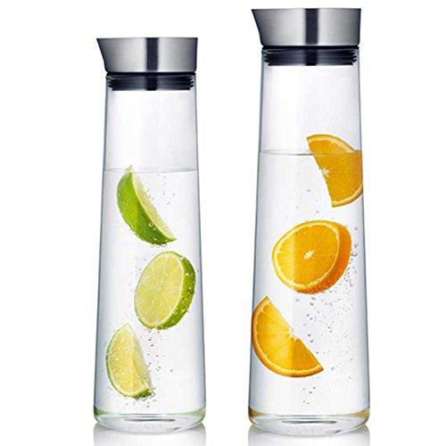 CDFD glas Pitcher verdikte karaf hoge borosilicaat met roestvrij staal deksel warm koud water sap glazen fles