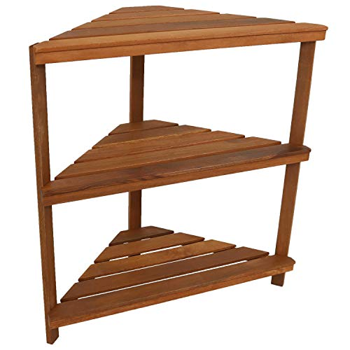 Sunnydaze Meranti Wood 3-Tier Corner Plant Stand Shelves with Teak Oil Finish - Indoor/Outdoor Wooden Planter Furniture - Potted Plant Holder Table for Patio and Home - 36-Inch