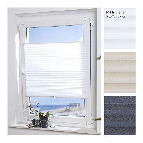 ourdeco® Plissee Easy / 85 x 210 cm weiß/lichtdurchlässig/Klemmen=Montage ohne Bohren=Smartfix=Klemmfix-Plissee=Easy-to-fix