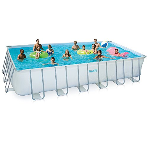 Summer Waves Elite Rectangular Metal Frame Swimming Pool Package, 12' x 24'