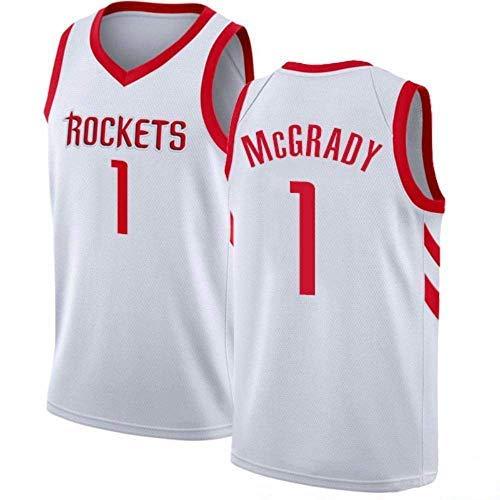 LAMBO Maglia da Basket NBA da Uomo Houston Rockets No.1 Tracy McGrady Maglia Traspirante retrò Senza Maniche Sport Fitness T-Shirt Magliette per Tifosi (XXL,White)