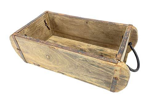 Crispe home & garden Alte Holz Aufbewahrungs-Box – Ziegelform aus Holz – mit Henkel – mit Metallbeschlägen – Maße (HxBxT) 10 x 32 x 15 cm