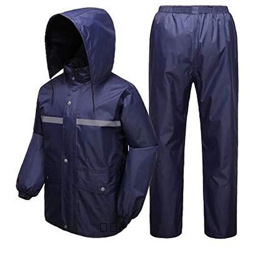 ZH1 Imperméables Vêtements de Pluie Pantalon de Pluie Ensemble Voiture électrique Moto Poncho Double épaisseur Hommes et Femmes Adulte Split Imperméable (Color : Blue, Size : XXXXL)