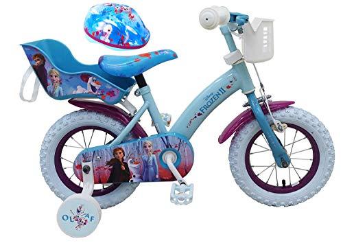 Kinderfahrrad Disney Frozen II - Die Eiskönigin 2 12 Zoll | Rücktrittbremse Korb Puppensitz + Fahrradhelm Gr. 51-55 cm verstellbar