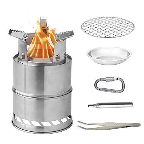 arthomer Estufa de leña portátil, estufa estufa de camping gasificador de leña plegable y a prueba de viento, estufa compacta de acero inoxidable o alcohol de titanio con parrilla de barbacoa