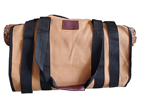 RIVECO Firewood Carriers Canvas Log with Handles & Double Straps Reinforced for Fireplace Wood Stove Durable Large Capacity Bag Heavy Duty Outdoor & Indoor (Brown)