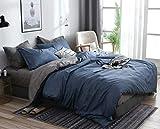 AShanlan Set di biancheria da letto 220 x 240 cm blu grigio antracite tinta unita biancheria da letto 100% morbida microfibra – 1 copripiumino 220 x 240 cm + 2 federe 80 x 80 chiusura lampo blu grigio