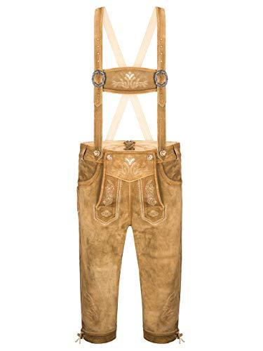 ALMBOCK Lederhose Herren braun lang - Herren Trachten Lederhose mit Knöpfen in Naturhornoptik - Trachtenlederhose Kniebund - Herren Lederhose 50