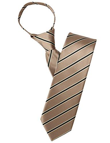 H2H Mens Comfortable Zipper Shine Stripe Patterned Neck Tie Beige OneSize (KMANT0104)
