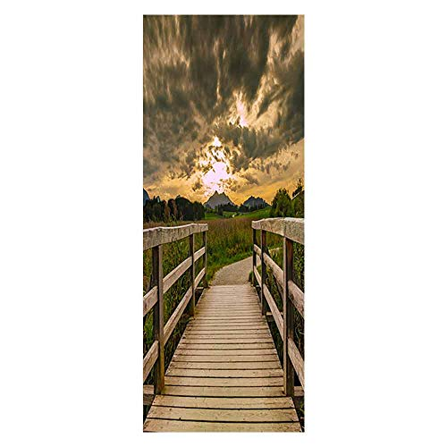 KEXIU 3D Puente de madera del cielo PVC fotografía adhesivo vinilo puerta pegatina cocina baño decoración mural 77x200cm