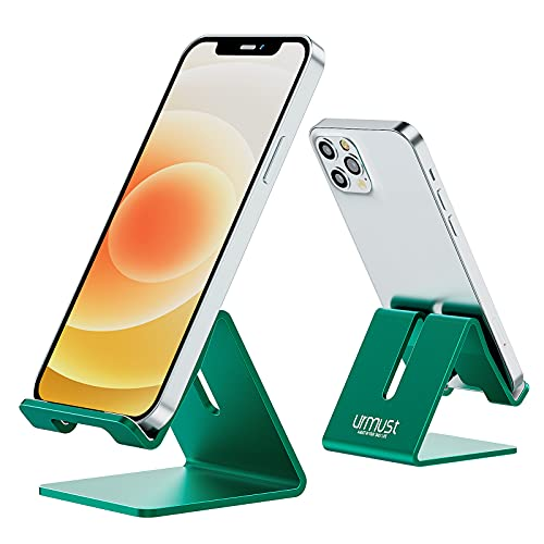 Desk Cell Phone Stand Holder Aluminum Phone Dock Cradle Compatible with Switch, All Android Smartphone, for iPhone 12 11 Pro Xs Xs Max Xr X 8 7 6 6s Plus 5 5s 5c, Accessories Desk (Green)