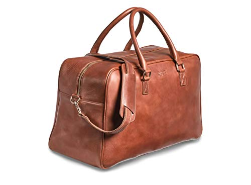 Canopus Leather Weekender Travel Bag for Men and Women - Hand Luggage Weekend Genuine Leather Bag with Shoulder Strap and 15 Inch Laptop Compartment (Brown)