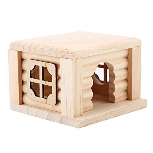 HEEPDD Pet House Hamster, 100% Madera Natural Inodoro Hogar Calado Encaje Ventana Escondite DIY Cabaña Juegue Nido Juguete Sala de observación Vida Natural para Ardillas Gerbils Hamsters Oso