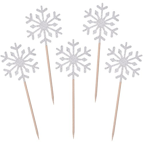TOODOO 60 Pack Snowflake Cupcake Toppers Glitter Snowflake Cake Topper Picks for Christmas Birthday Party Baby Shower Wedding Cake Decoration (Silver)