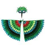 Proumhang 2 Piezas de Disfraz de alas de pájaro para niños de 3 a 8 años,Disfraz de búho de pájaro y Pavo Real,máscara de Ojo de Fieltro para niños y niñas y Conjunto de alas,Halloween,Estilo 3