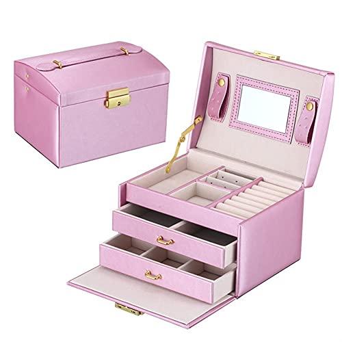 Caja de joyería Grande joyería Caja Organizador Chicas PU Cajas de Cuero Cajas de Joyas Pendientes Anillo Collar Joyería Caja de Almacenamiento Castre (Color : Purple)