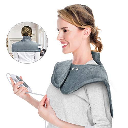 OMORC Heizkissen 50x56 cm Wärmekissen für Nacken, Schulter und Rücken mit 3 Temperaturstufen schneller Heiztechnologie und 90 Min Abschaltautomatik Maschinenwaschbar
