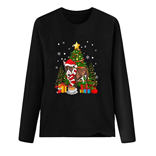 Mirlise Women's Sweater Christmas Print O Neck T-Shirt Long Sleeve Casual Blouse Top Sweatshirt