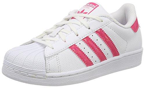 adidas Unisex-Kinder Superstar Sneaker, Weiß (Footwear White/Real Pink/Footwear White), 29 EU