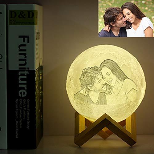 Luz de Luna 3D Personalizada con Foto Personalizada, 16 Colores, Luz de Noche Para Niños con Carga USB, Cumpleaños, Acción de Gracias, Navidad, Regalos del Día de la Madre