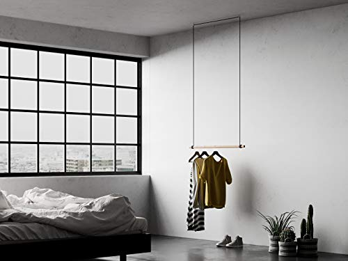 [Wall & Oak] Designer Hängegarderobe 'Manny'   Handarbeit   Kleiderständer   Schwimmend / Floating   Massivholz   100cm   natur oder schwarz   (Natur, 220 cm)