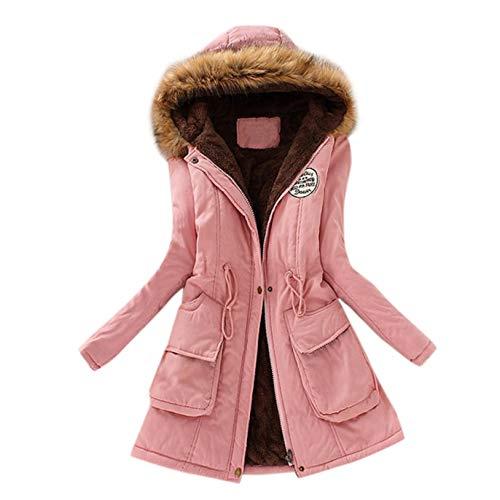 YAnGSale Top Winter Coat Womens Warm Sweater Hooded Jacket Slim Outwear Comfy Coats Long Cardigan Comfy Overwear (Pink, L)