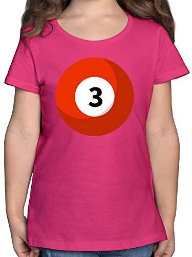 Karneval & Fasching Kinder - Billardkugel 3 Kostüm - 164 (14/15 Jahre) - Fuchsia - Rundhals - F131K - Mädchen Kinder T-Shirt