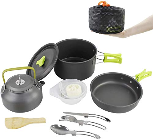 WeaArco Camping Pans and Pots Kit, Portable Outdoor Cookware, Tea Kettle Bowl Tableware Set with Mesh for Hiking, Backpacking, Picnic, for 2-3 Person