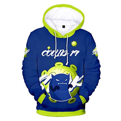 YDXH Chaqueta con Capucha suéter Suelta de Manga Larga de los niños de los niños 3D Digital Impreso COVID-19 Patrón,XXXXL