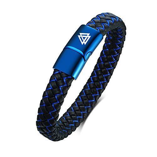 VNOX Pulsera de Cuero Azul para Hombre Pulsera con símbolo Vikingo Clásico Trenzado nórdico Valknut Runas Pulsera de Cuero con Cierre de imán de Acero Inoxidable