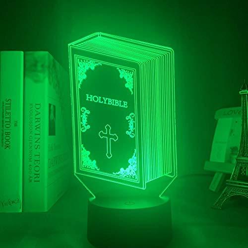 Lámpara de sueño LED 3D Biblia, Biblia, cristianismoUSB 7 colores Sensor táctil Niño Niños Regalo Lámpara de mesa Decoración de escritorio-16 colors remote