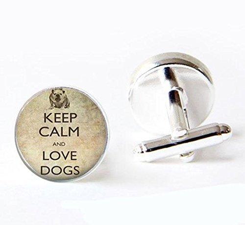 Manschettenknöpfe aus Glas, Vintage-Stil, Aufschrift Keep Calm and Love Dogs, runde Bulldogge, für Herren und Damen, handgefertigt, für Freundinnen, Hochzeit, Weihnachtsgeschenk