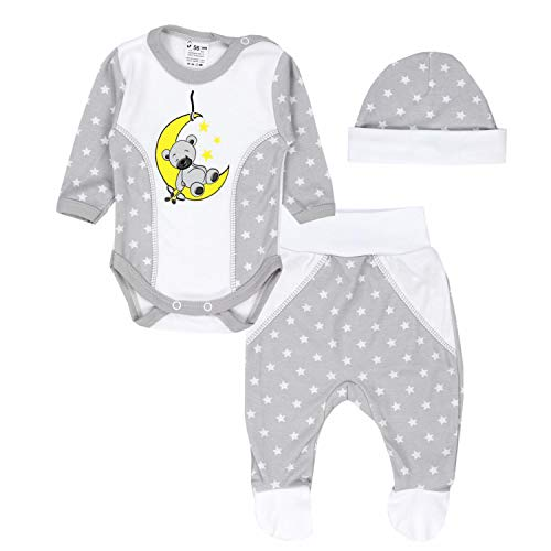 TupTam Baby Kleidung Set Body Strampelhose Mütze Teddybär, Farbe: Bär auf Mond/Grau, Größe: 68