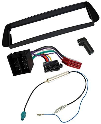 AERZETIX - Kit de montaje de radio de coche estándar 1DIN - Marco, cable enchufe y adaptadores de antena - Negro - C1394A